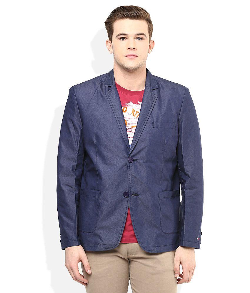 American Swan Blue Solid Semi-Formal Blazers