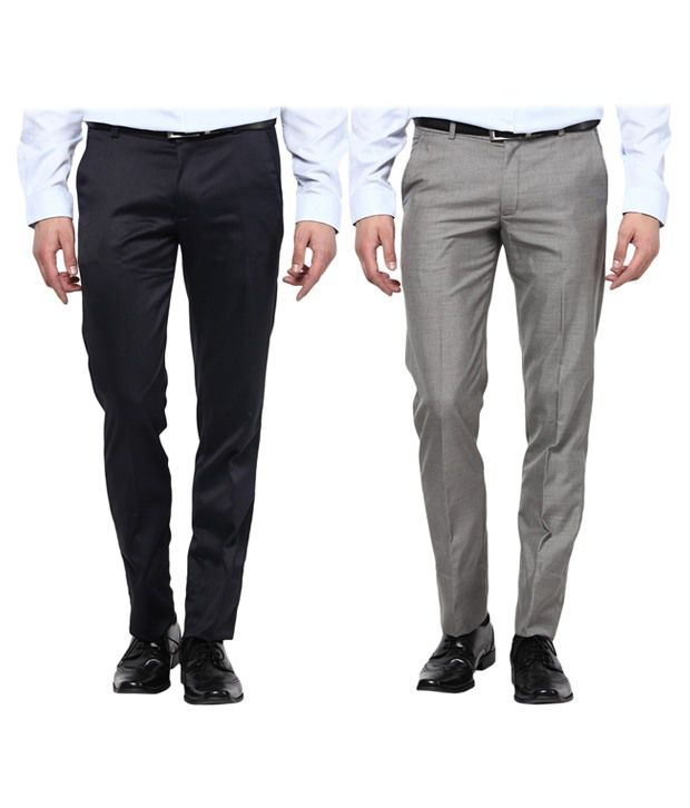 Bukkl Grey and Black Slim Fit - Combo of 2 Flat Style Trouser