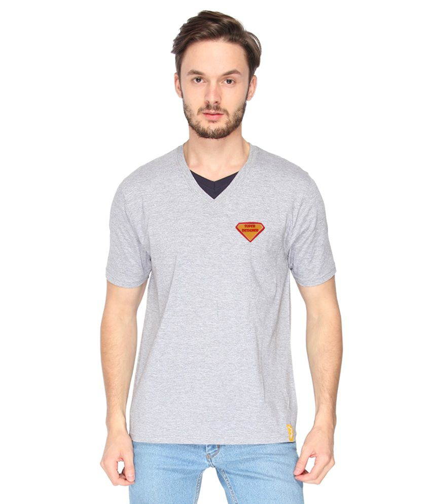 Campus Sutra Grey Cotton T-Shirt