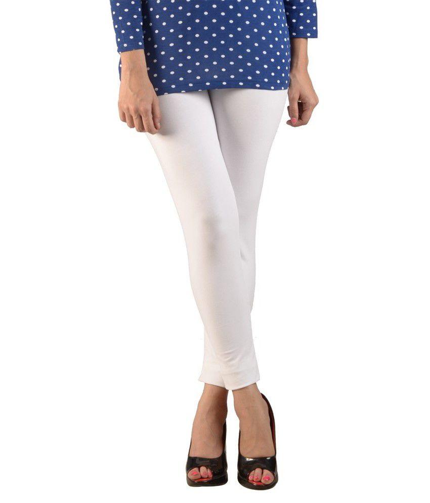 De Moza White Cotton Leggings