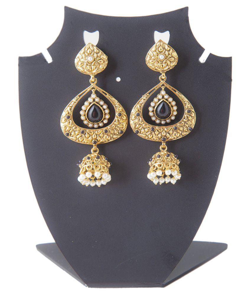 Mokanc Antique Gold Finish Polki Dangle Earrings