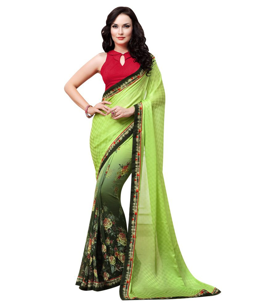 db91707bb3 Neerus Green Printed Georgette Saree - Buy Neerus Green Printed Georgette  Saree Online at Low Price - Snapdeal.com