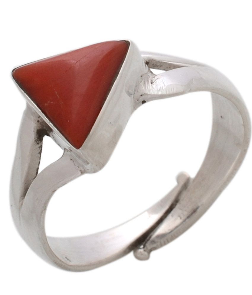 Rs Jewellers 6.25 Ratti Natural Coral Studded In Sterling Silver Rashi Ratan Ring
