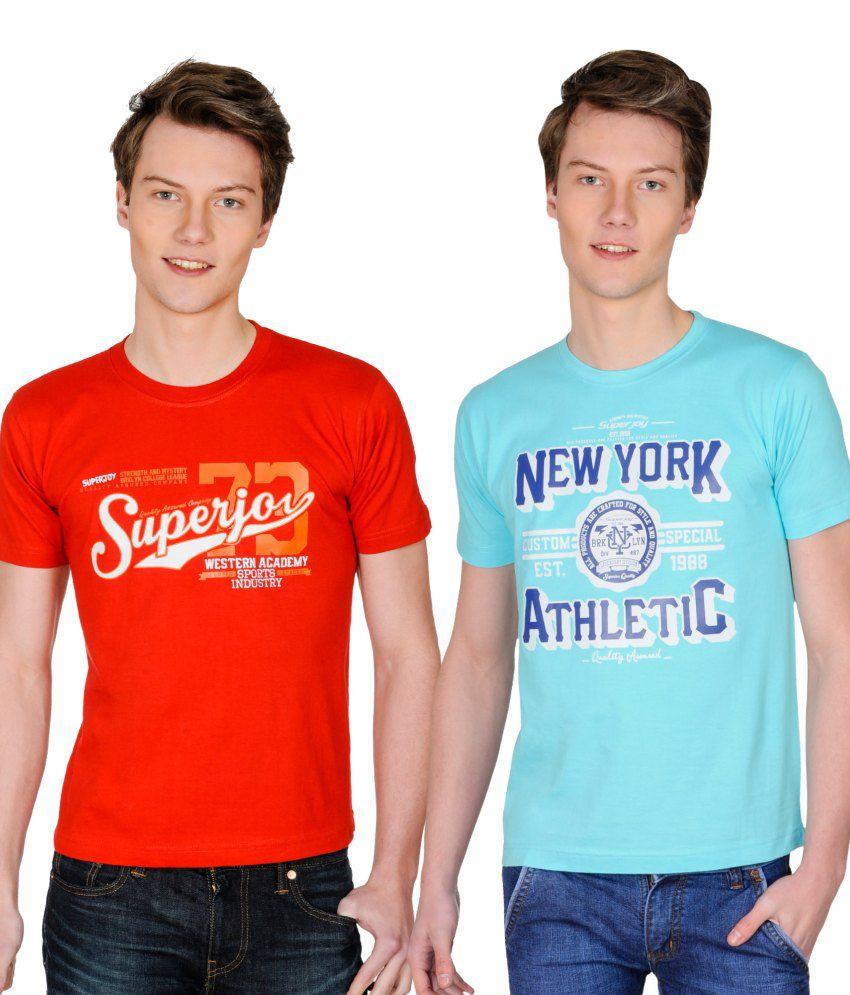 Superjoy Blue Polyester T-shirt - Set Of 2