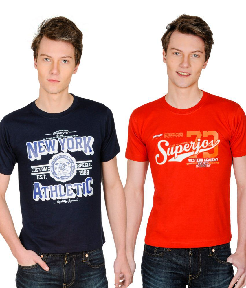 Superjoy Navy Polyester T-shirt - Set Of 2