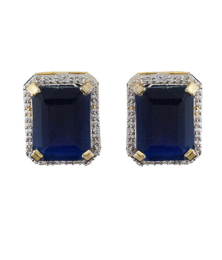 Chaahat Fashion Jewellery Blue Copper Stud Earrings