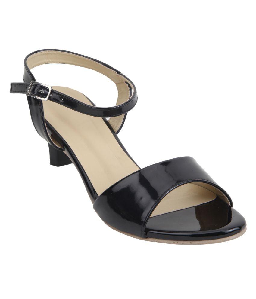 Glitzy Galz Black Kitten Heeled Sandals