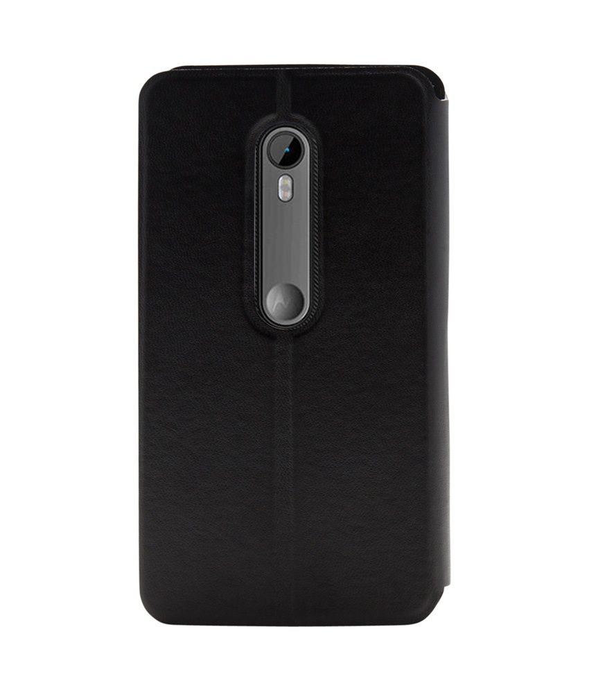 newest 460f8 63ff1 Noise Leather Flip Cover For Moto G3 ,Moto G Turbo Edition - Black