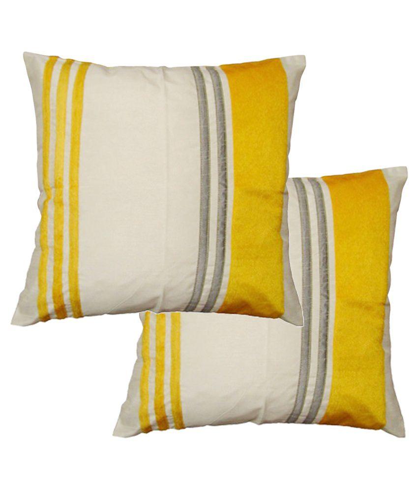 Xarans Yellow Striped Cotton Cushion Cover Set of 2 Pcs