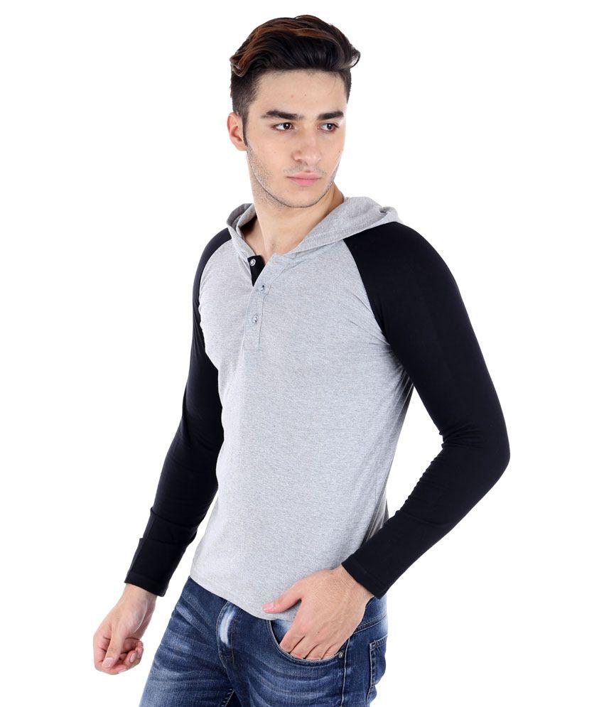 Black t shirt low price -  Big Idea Grey And Black Cotton Blend Hooded T Shirt