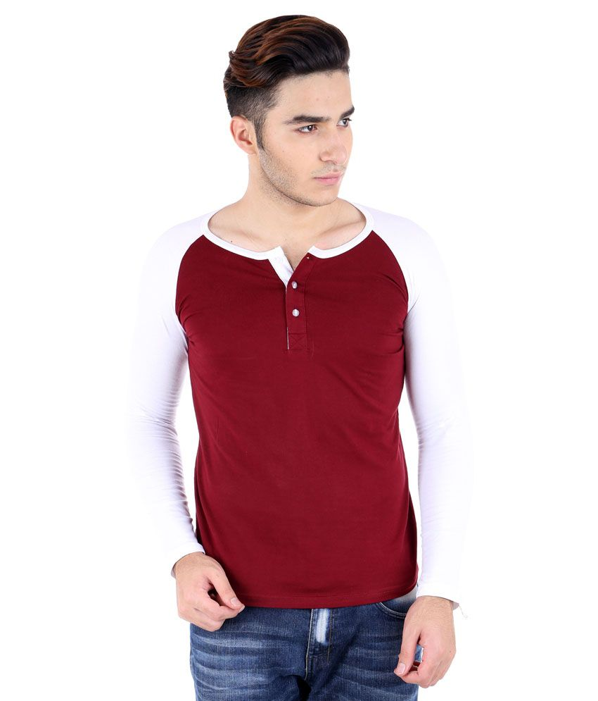 Big Idea Maroon and White Cotton Blend Henley T-Shirt
