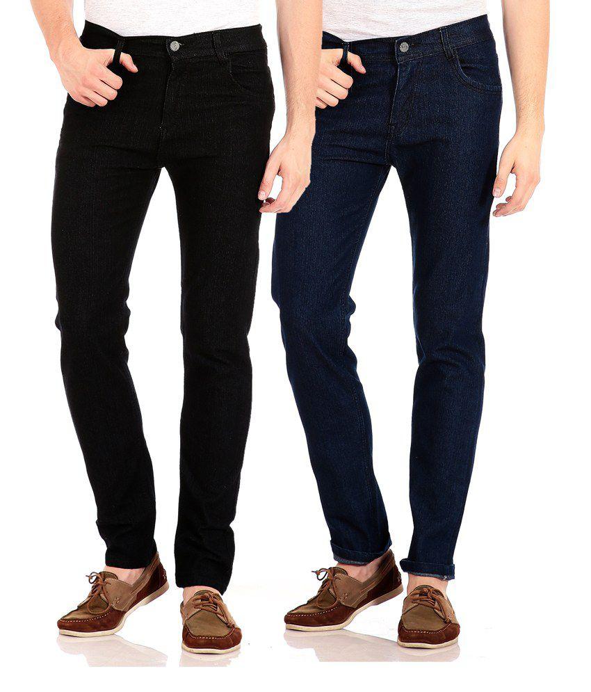 Flyjohn Multicolor Slim Fit Jeans - Combo Of 2