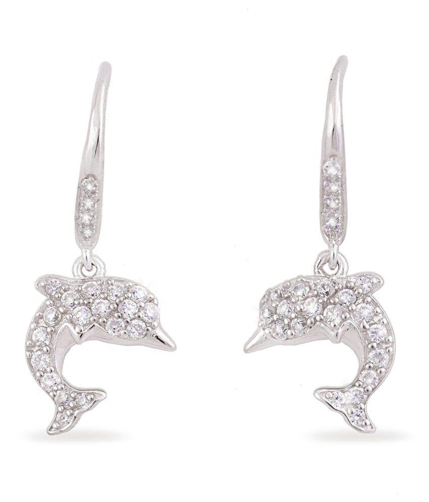 Ijuels 92.5 Sterling Silver Cubic Zirconia Drop Earrings