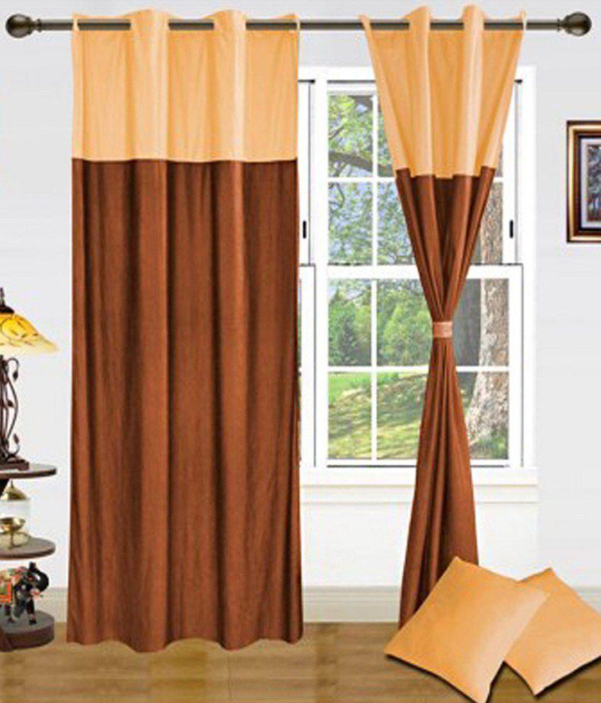 Samyak Set Of 2 Door Eyelet Curtains Floral Yellow Brown Buy Samyak Set Of 2 Door Eyelet