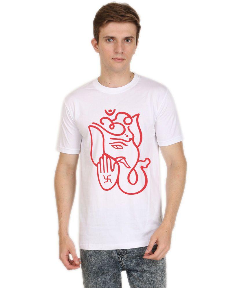 Shopping Monster White Cotton Blend T-Shirt