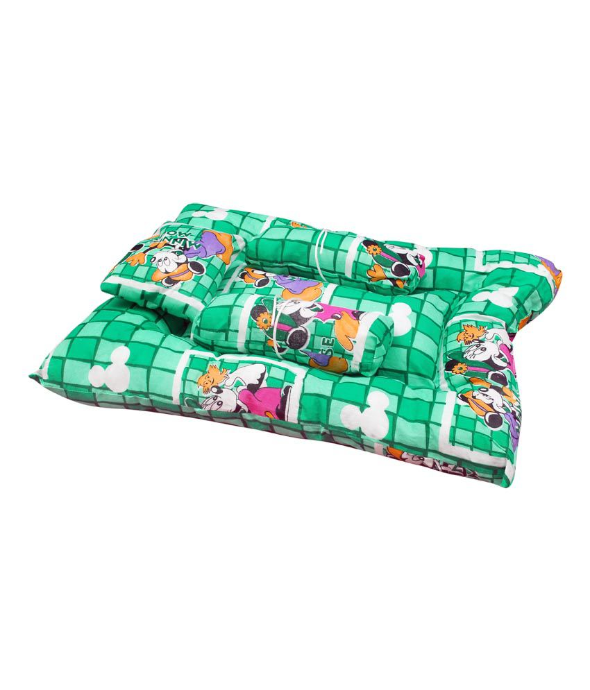 Orange And Orchid Green Cotton Baby Sleeping Bed