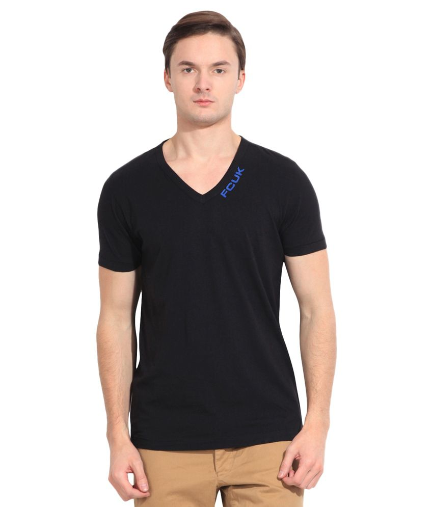 French Connection Black Cotton T-Shirt
