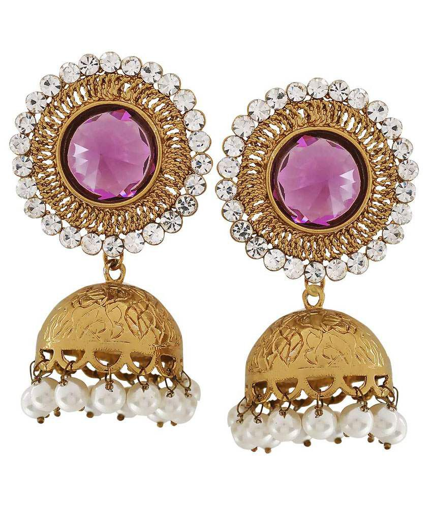 Maayra Purple Copper Wedding & Engagement Jhumkis