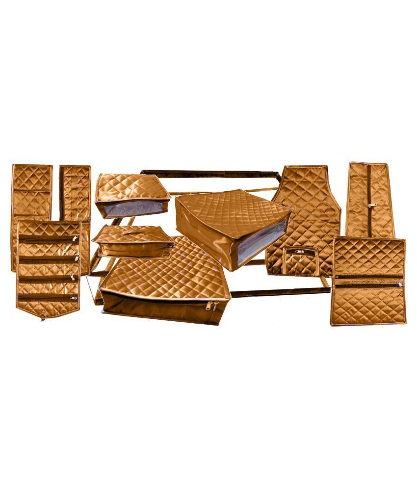 Oh Beauty Gold Satin Wardrobe Organizer Bag - 11 Piece