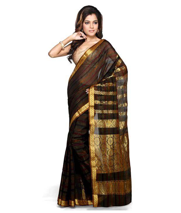 Pratamika Brown Silk Saree