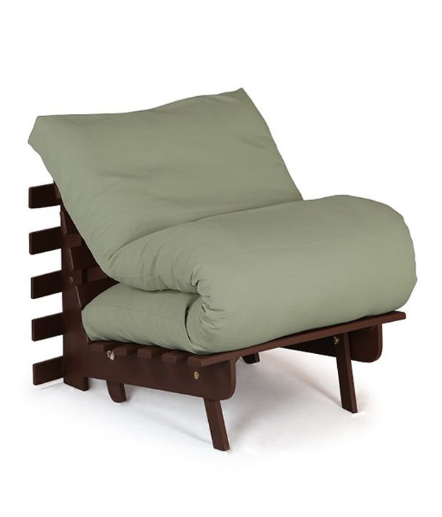 Solid Wood Work Single Futon With Mattress In Green