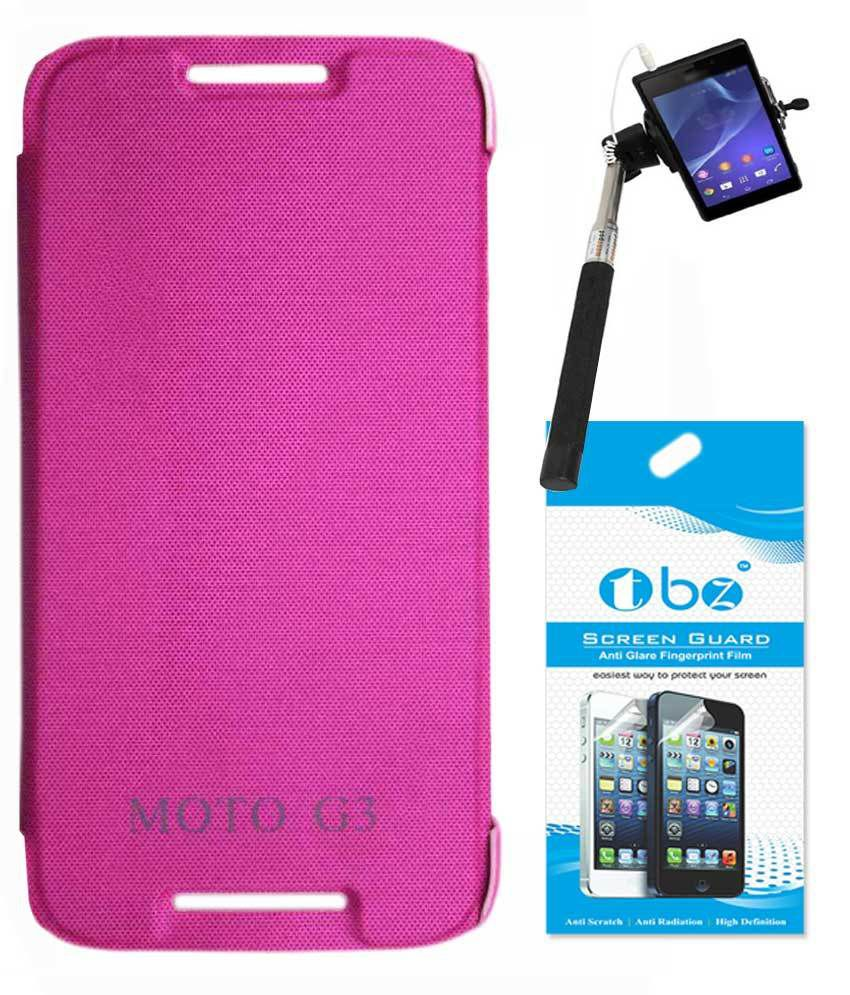 brand new 33920 4c51e Tbz Flip Cover For Motorola Moto G 3rd Generation - Pink With Screen Guard  And Selfie Stick Monopod With Aux