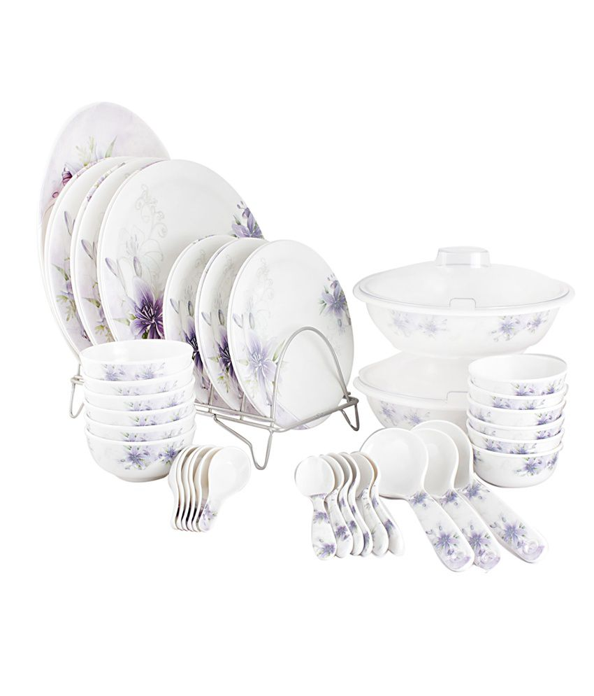White Gold White Melamine Dinnerware - Set of 44