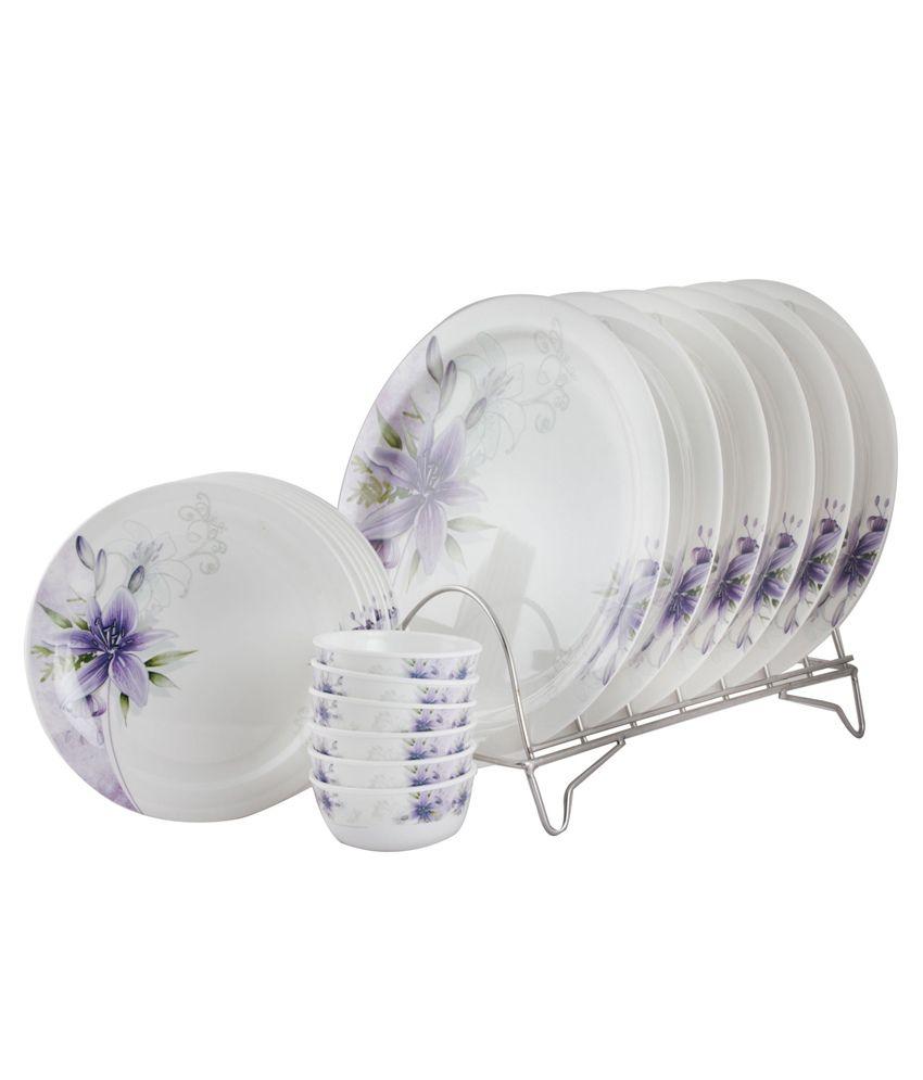 White Gold White Melamine Dinnerware - Set of 18