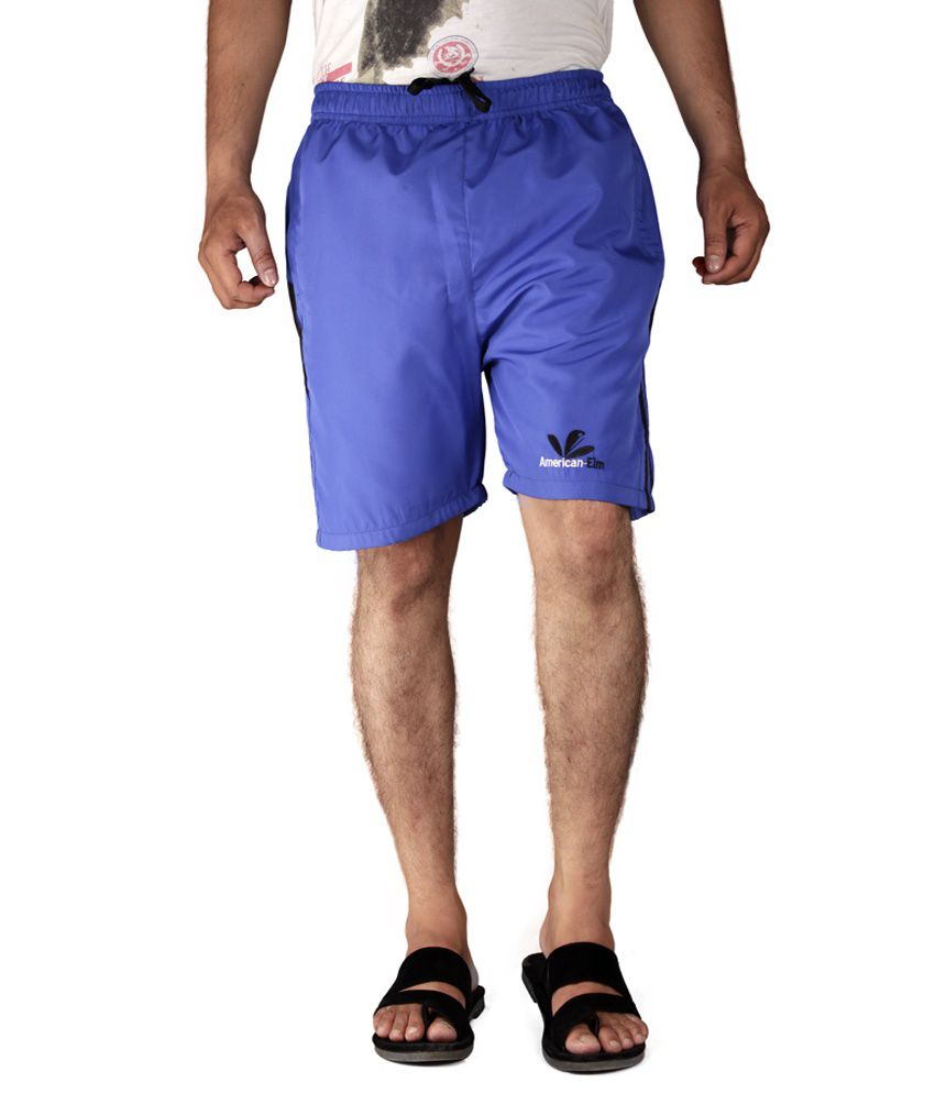 American-elm Blue Polyester Solids Shorts