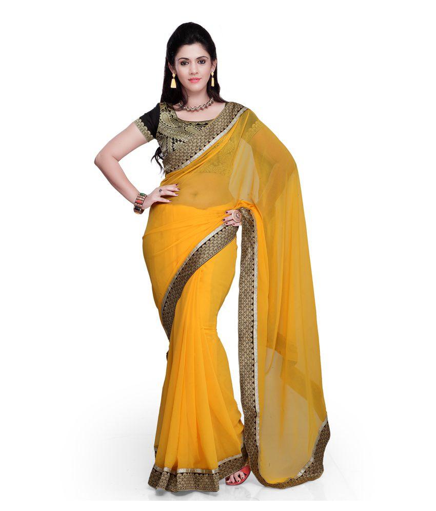 Janasya Yellow and Brown Chiffon Saree