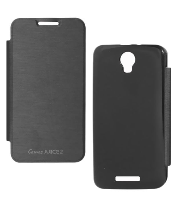 new style fcbe6 fb916 Lelothings Flip Cover For Micromax Canvas Juice 2 Aq5001 - Black