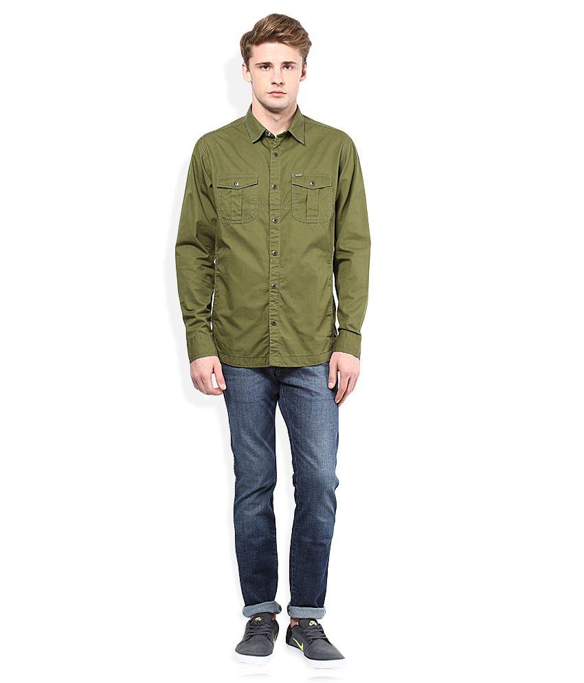 149a61d74 Numero Uno Olive Green Slim Fit Casual Shirt - Buy Numero Uno Olive ...