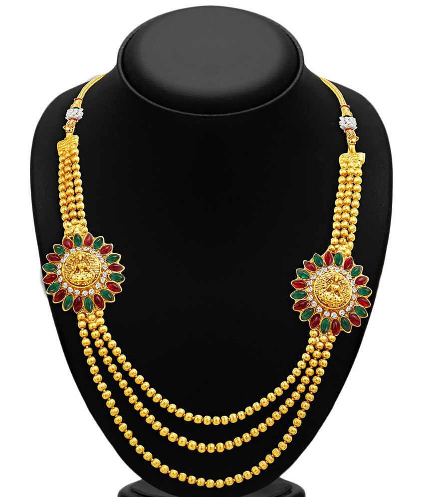Sukkhi Gold Plated Three Strings CZ Necklace Set