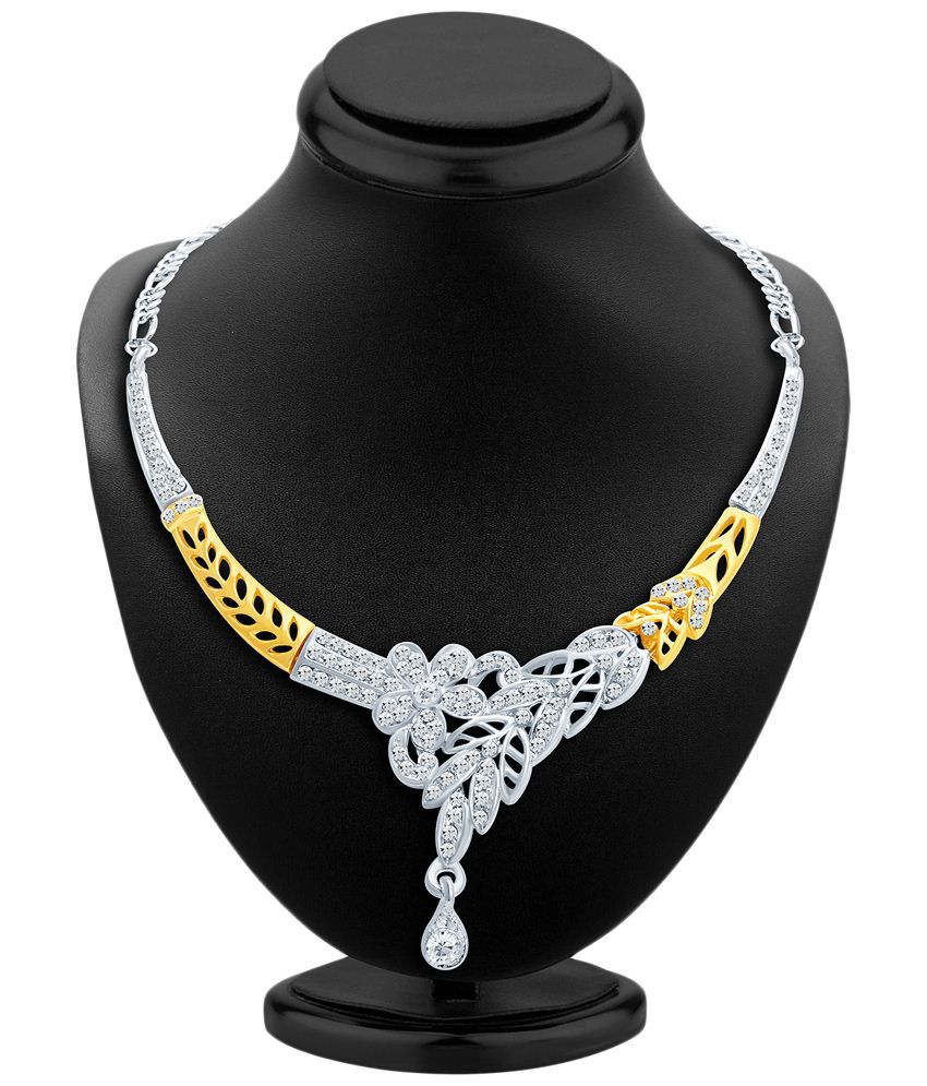 Sukkhi Gold & Rhodium Plated AD Necklace Set with Maang Tika
