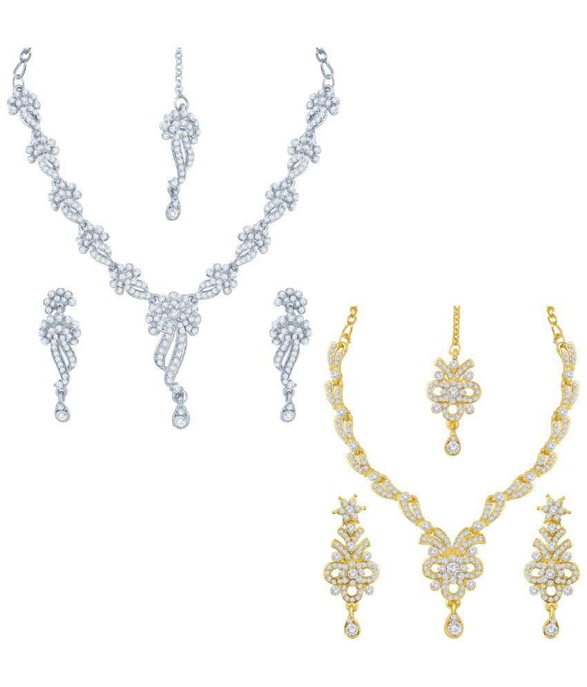 Sukkhi Pack of 2 Gold Plated AD Necklace Sets with Maang Tikas