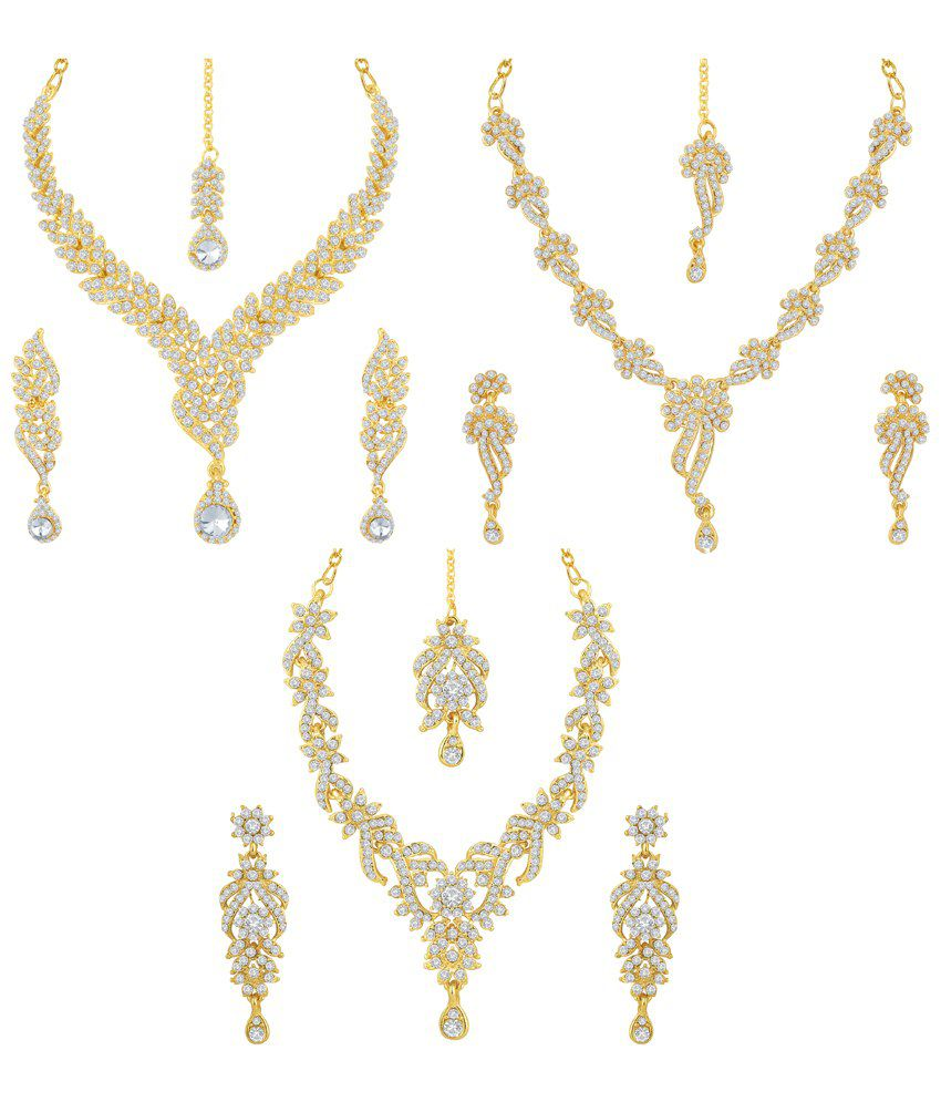Sukkhi Zinc Gold Plated Australian Diamond Studded Necklace - Set of 3