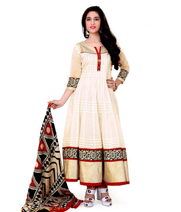 Excellency White Cotton Unstitched Dress Material