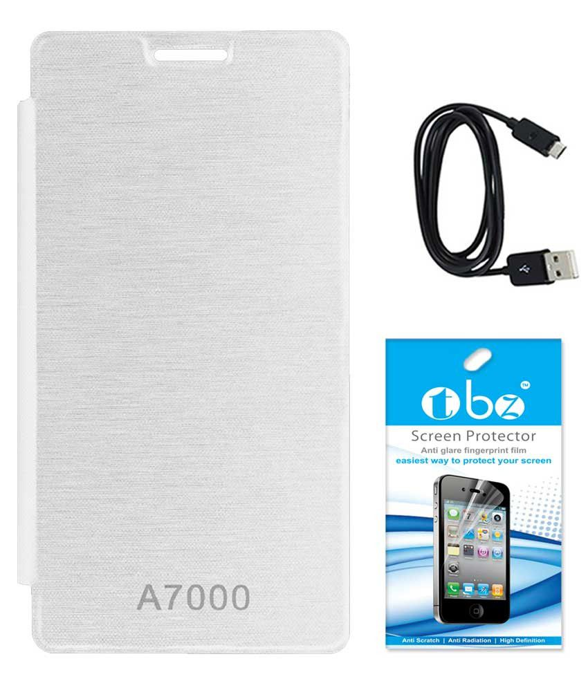 Tbz Flip Cover White For Lenovo K3 Note With Screen Guard And Data Cable