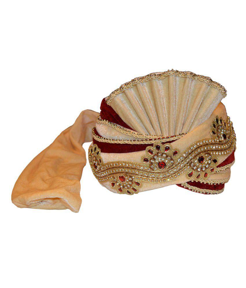 Sareez Beige & Maroon Polyester Wedding Turban
