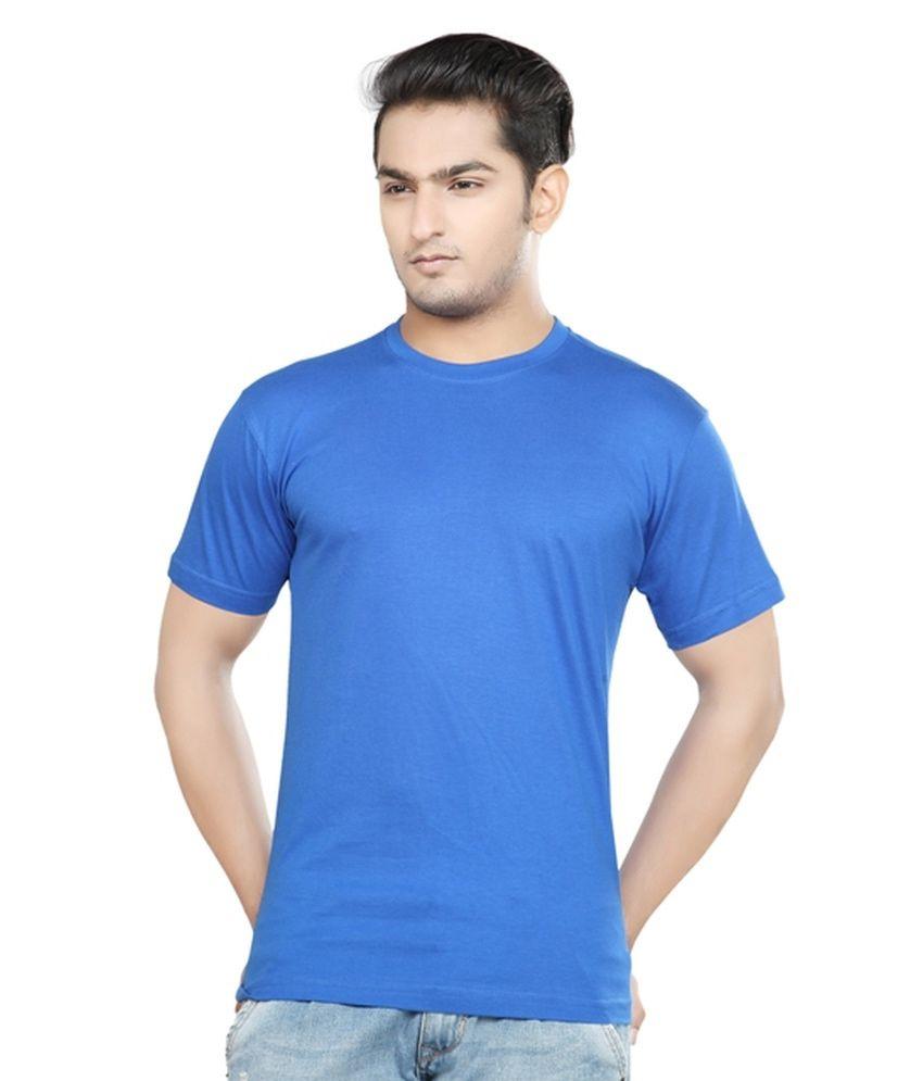 Fk Garments Blue Cotton Blend T-shirt