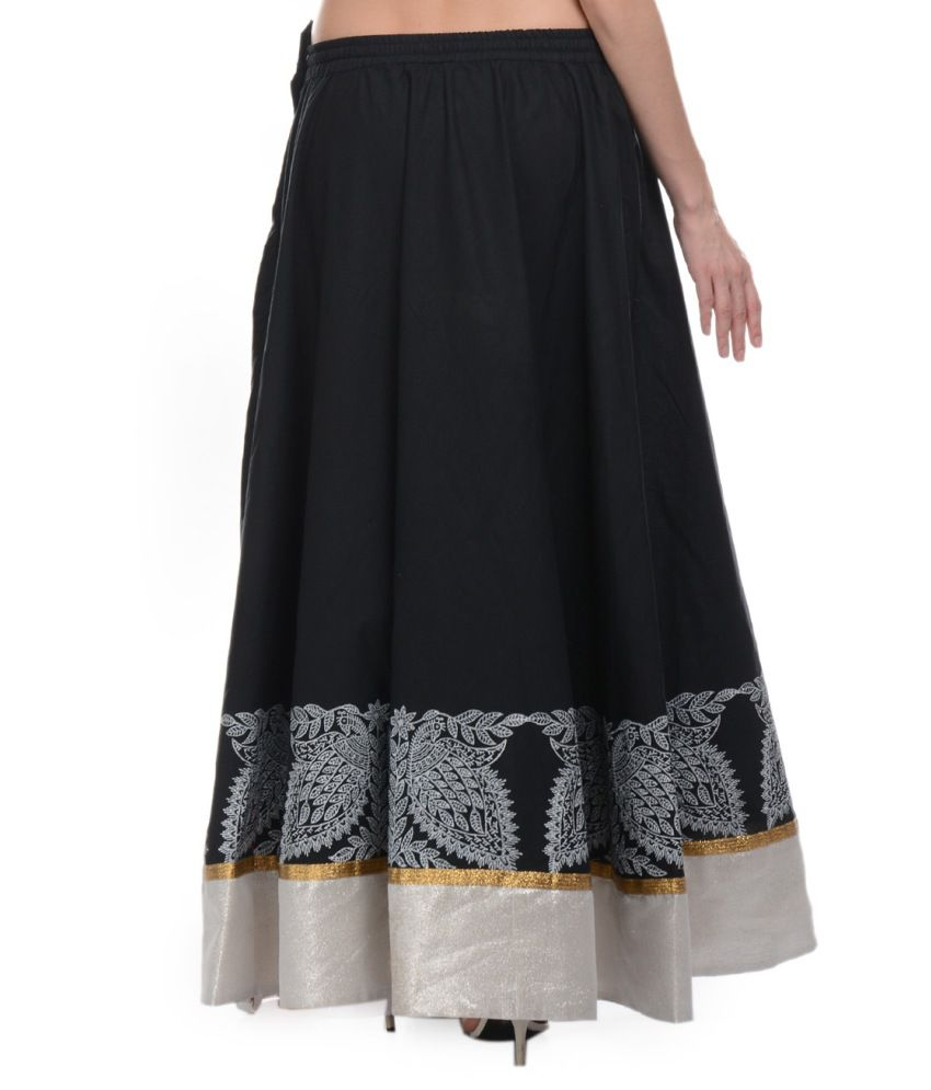 Buy Nika Black Cotton A-line Skirt Online at Best Prices in India ...