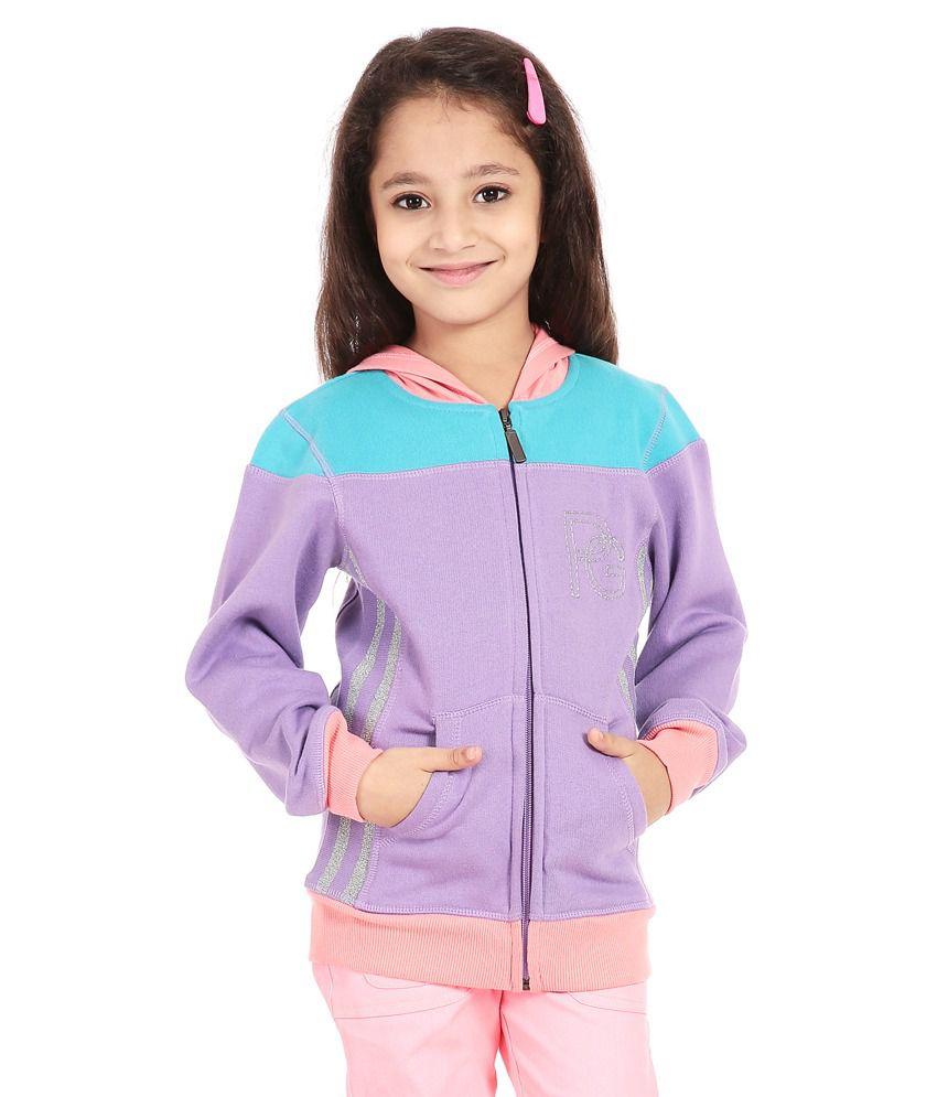 Posh Kids Purple Cotton Spandex Sweatshirt With Hood