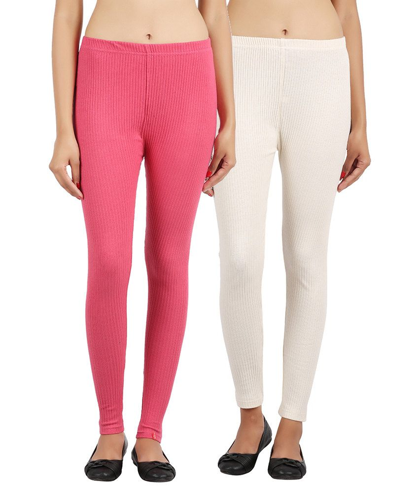 Notyetbyus Combo of Pink and White Cotton Leggings (Pack of 2)