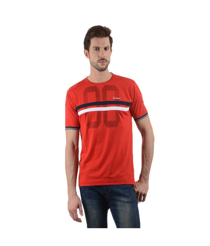 Tmo Red Cotton Blend T-shirt