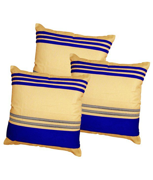 Xarans Blue Striped Cotton Cushion Cover Set of 3 Pcs