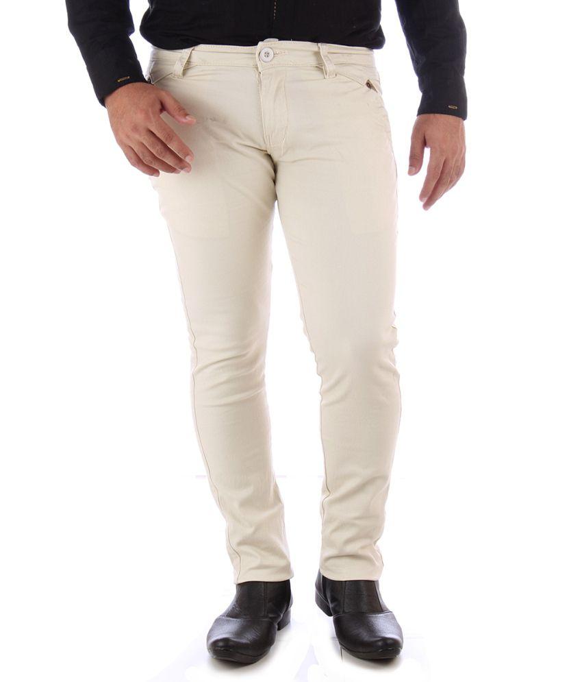 Yup Beige Cotton Regular Fit Chinos