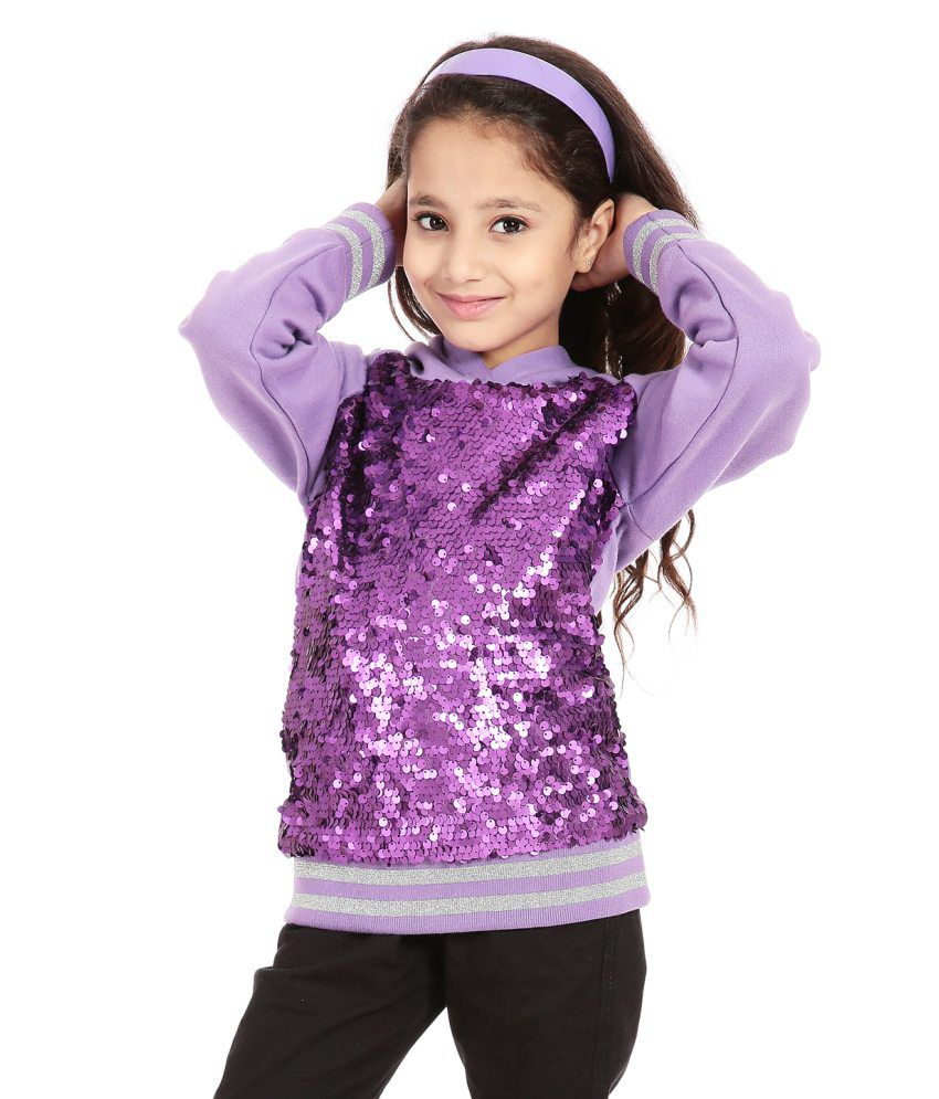 Posh Kids Purple Embroidered Fleece Sweatshirts With Hood