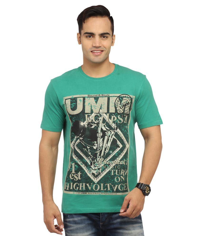 Byrock Green Cotton Printed T Shirt