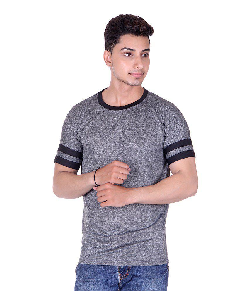 Gag Wear Grey Half Sleeves Basic Wear T-shirt
