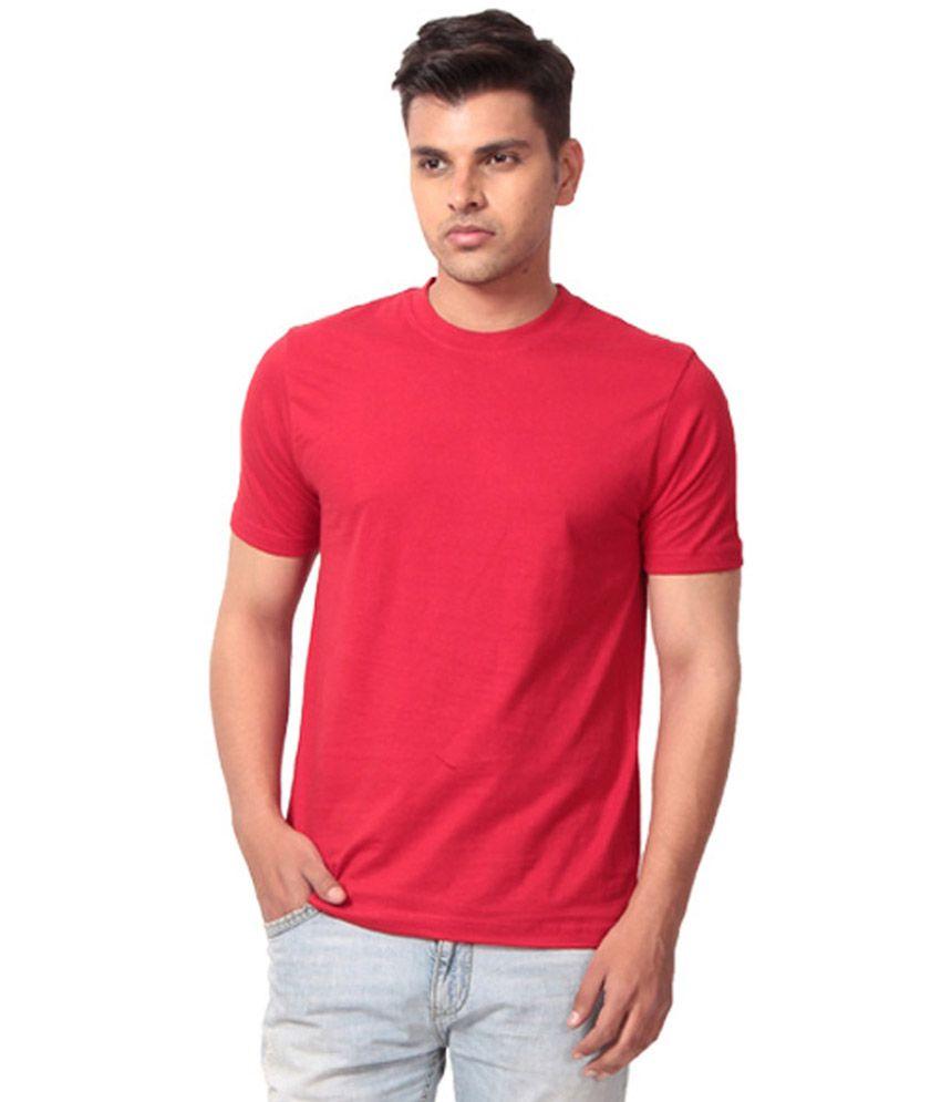 Porto Bello Maroon Round Neck Viscose Plain T Shirt